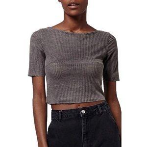 NWT Topshop Grey Ribbed Short Sleeve Crop Top